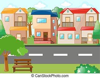 huisen, scène, straat
