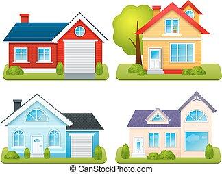 huisen, set, particulier