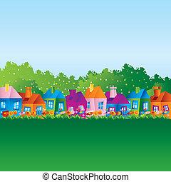 huisen, spotprent, achtergrond
