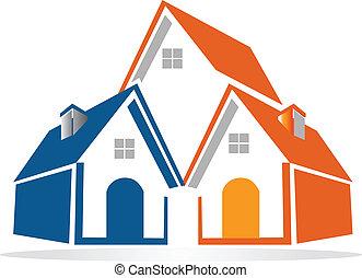 huisen, vector, groep, logo