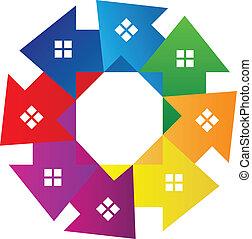 huisen, vector, ongeveer, logo