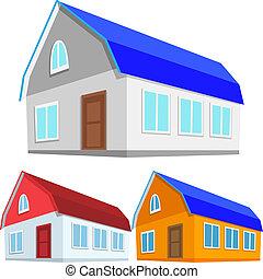 huisen, vector, set, gekleurde