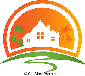 huisen, zon, palmen, logo