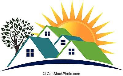 huisen, zonnige dag, logo