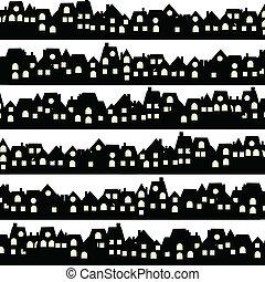 huisen, zwarte achtergrond, doodle