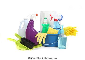huisgezin, items, gebruikt, voor, klusjes, en, poetsen