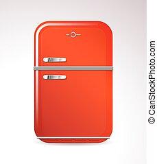 huisgezin, ontwerp, retro, koelkast, rood