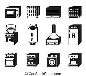 huisgezin, set, toestellen, pictogram