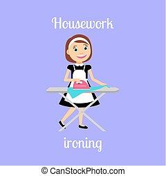 huishoudster, vrouw, ironing