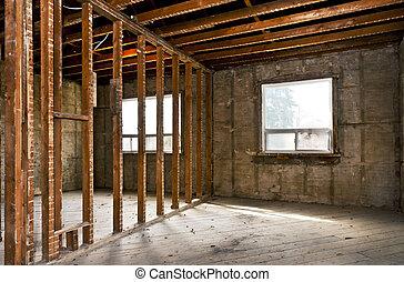 huisinterieur, gutted, voor, vernieuwing