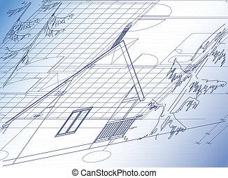 huisje, architecturaal, achtergrond