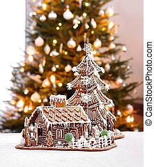 huisje, peperkoek, boompje, kerstmis