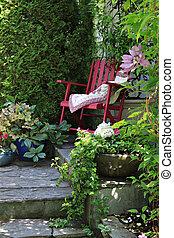 huisje, stoel, tuin