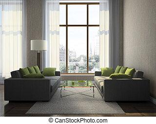 huiskamer, deel, moderne