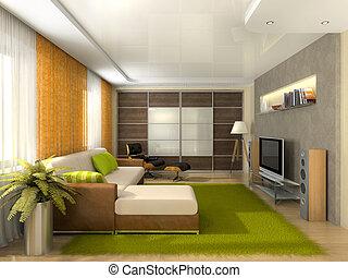 huiskamer, flat, moderne