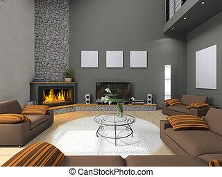huiskamer, moderne, aanzicht