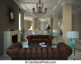 huiskamer, moderne, country-house, deel