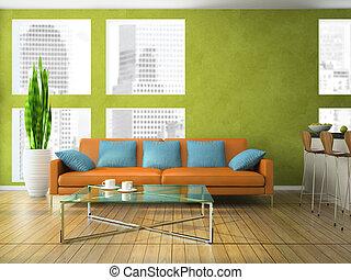 huiskamer, moderne, groene, kleur, deel
