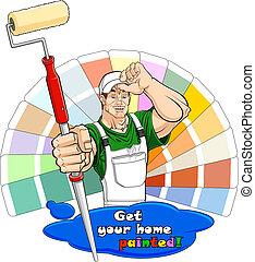 huisschilder, rol, verf