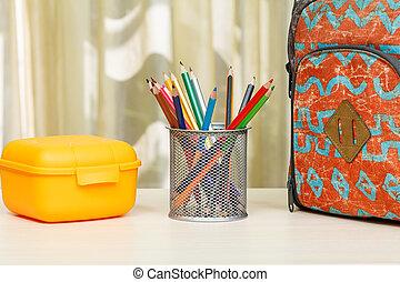 huisschool, schooltas, toebehoren, bureau