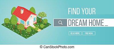 huisvesting, concept, markt