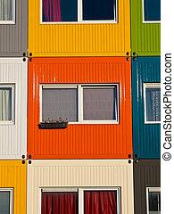 huisvesting, kleurrijke, student
