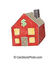 huisvesting, retro, markt, spotprent