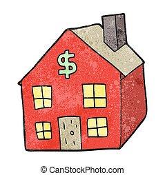 huisvesting, spotprent, markt, textured