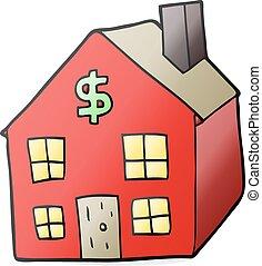 huisvesting, spotprent, markt