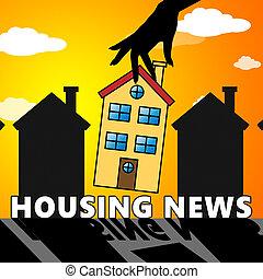 huisvesting, verkoop, illustratie, thuis, nieuws, optredens, 3d