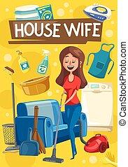 huisvrouw, gereedschap, poetsen, housework