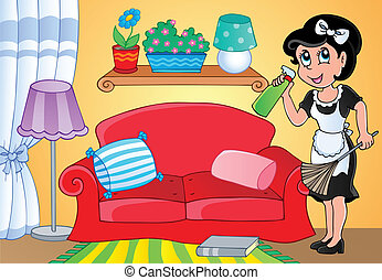 huisvrouw, thema, beeld, 2
