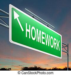 huiswerk, concept.