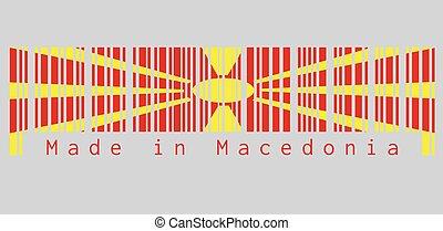 huit, fait, macedonia., rayons, champ, broadening, ensemble, rouges, couleur, macédoine, text:, barcode, jaune, edge., soleil, étendre, drapeau, centre