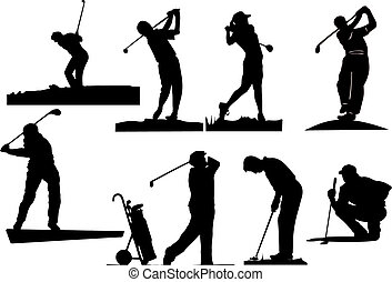 huit, golfeur, silhouettes