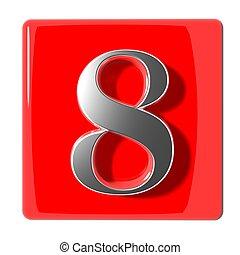 huit, nombre, icône
