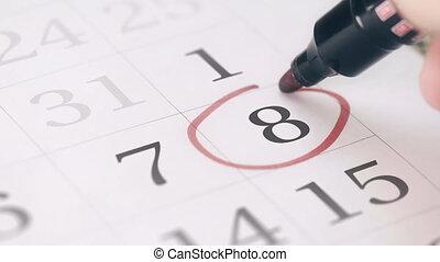 huitième, 8, rappel, marque, jour, mois