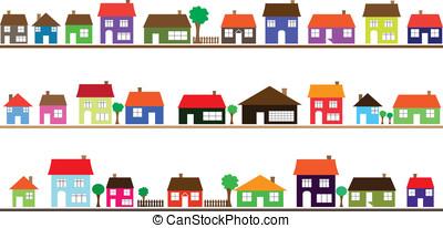 huizen, buurt, kleurrijke