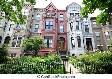 huizen, italianate, hoek, breed, washington, stijl, dc,...