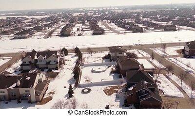 huizen, luchtopnames, sneeuw, yards, bedekt