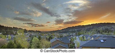 huizen, op, voorstad, ondergaande zon , vallei, vrolijke