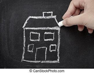 huizenbouw, architectuur, landgoed, thuis, chalkboard, echte