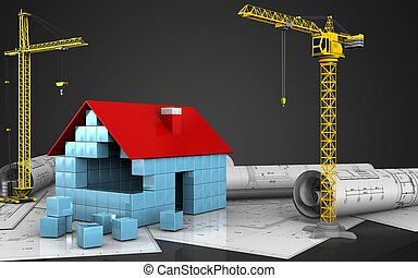 huizenbouw, blokjes, 3d