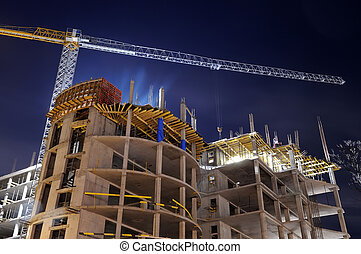huizenbouw, bouwterrein, op de avond