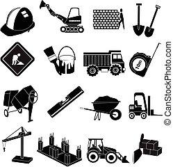 huizenbouw, iconen, set