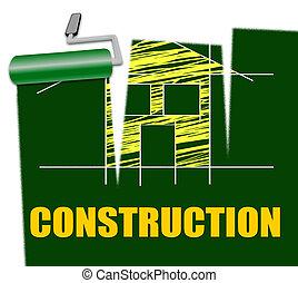 huizenbouw, indiceert, vastgoed, en, gebouw