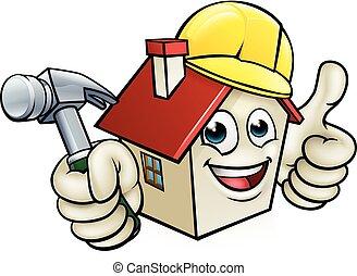 huizenbouw, karakter, spotprent, mascotte