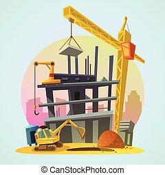 huizenbouw, spotprent