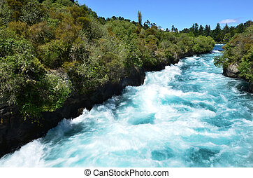 Huka Falls New Zealand - Huka Falls - Waterfall near Taupo,...