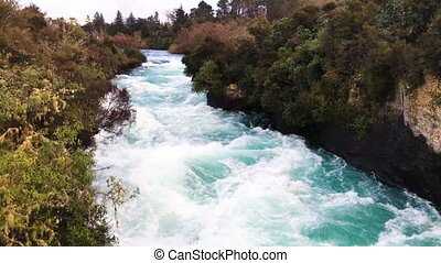 Huka Falls powerful waterfalls, New Zealand.